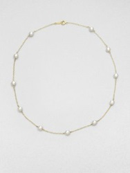 Mikimoto 5.5Mm White Cultured Akoya Pearl And 18K Yellow Gold Station Necklace Pearl Gold
