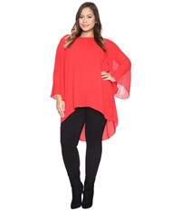 Vince Camuto Plus Size Chiffon Pleated Sleeve Blouse Fire Glow Women's Clothing Red