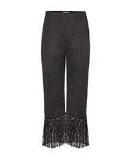 Edun Fringed Wool Blend Cropped Trousers Black