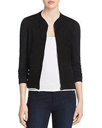 Majestic Filatures Perforated Leather Front Bomber Jacket Noir