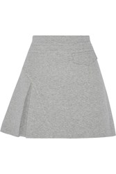 10 Crosby By Derek Lam Pleated Cotton Blend Mini Skirt Gray