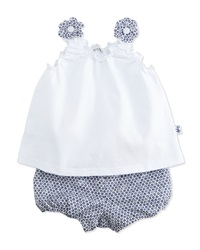 Il Gufo Jersey Tank And Floral Shorts White Blue Size 6 12 Months