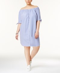 Almost Famous Trendy Plus Size Cotton Off The Shoulder Shirtdress Blue White