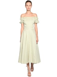 Luisa Beccaria Off The Shoulder Linen Blend Dress Green White
