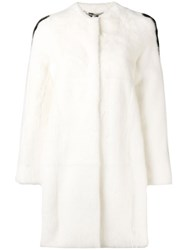 Philipp Plein Side Stripe Detail Fur Coat 01 White