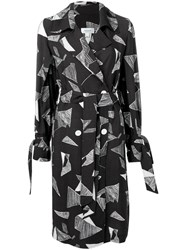 Jovonna Abstract Print Wrap Dress Black