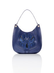 Shanghai Tang Peony Plate Embroidery Leather Hobo Navy