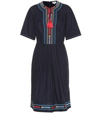 Talitha Embroidered Cotton Dress Blue