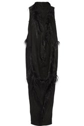 Rick Owens Seahorse Goat Hair Trimmed Suede Tunic Black