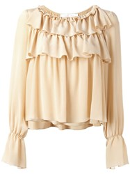 See By Chloe Ruffled Bell Sleeve Blouse Nude Neutrals