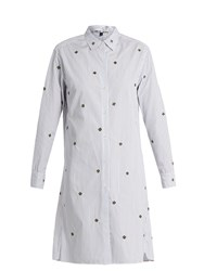 Jupe By Jackie Gopal Flower Applique Pinstriped Cotton Shirtdress Blue Stripe