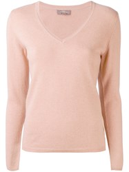 N.Peal Cashmere V Neck Jumper Pink Purple