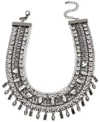 Inc International Concepts Hematite Tone Woven Stone Wide Collar Necklace Only At Macy's Gray