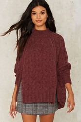 Aux Cable Knit Sweater Red