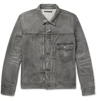 Fabric Brand And Co Distressed Selvedge Denim Jacket Gray