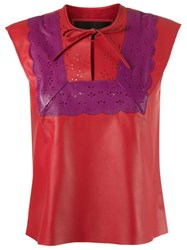 Talie Nk Leather Top Red