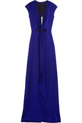 Victoria Beckham Cutout Brushed Satin Gown Royal Blue