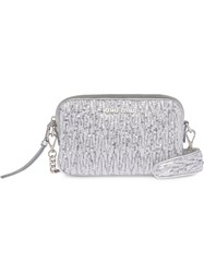 Miu Miu Sequin Embellished Crossbody Bag Silver