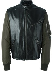 Dolce And Gabbana Contrast Sleeve Bomber Jacket Green