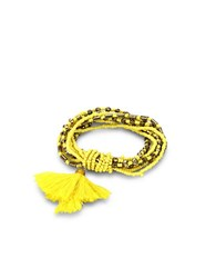 Robert Rose Tassel Accented Beaded Bracelet Yellow