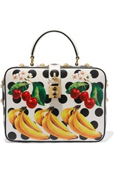 Dolce And Gabbana Printed Textured Leather Tote White