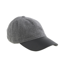 J.Crew Leather Brim Baseball Cap Grey