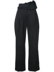 Carven Ruffle Front Cropped Trousers Black