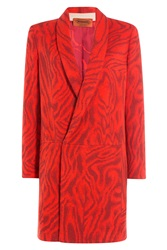 Missoni Zebra Print Wool Coat Red