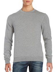 Black Brown Merino Wool Crewneck Sweater Steel Grey Heather