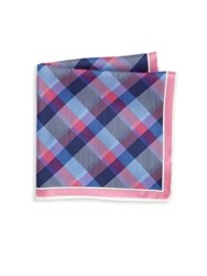 Saks Fifth Avenue Multi Color Plaid Silk Pocket Square Blue Pink Green Coral