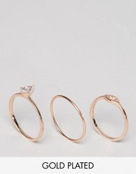 Liars And Lovers Gold Plated Fine Ring Multipack Rose Gold