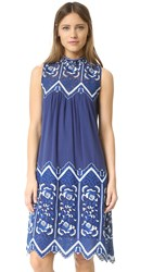 Sea Embroidered Sleeveless Dress Blue