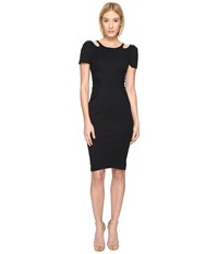 Zac Posen Bondage Cut Out Jersey Short Sleeve Dress Black