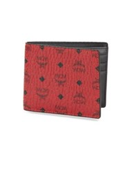 Mcm Claus Textured Small Wallet Ruby Red
