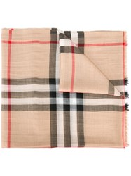 Burberry House Check Scarf Nude Neutrals
