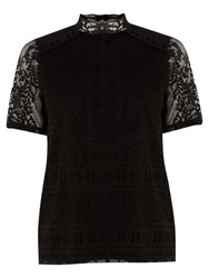 Warehouse Victoriana Lace Top Black