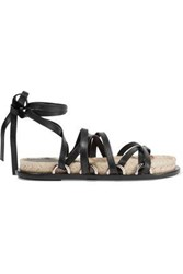 Alexander Wang Adriana Lace Up Leather Espadrille Sandals Black