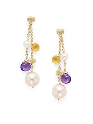 Marco Bicego Paradise Amethyst Citrine Pearl And 18K Tier Drop Earrings Gold