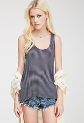 Forever 21 Striped Racerback Tank Navy Cream