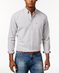 Tommy Hilfiger Men's Long Sleeve Twain Check Classic Fit Shirt Frost Gray Pt
