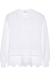 Erdem Layered Cotton Blend Knitted And Lace Sweater