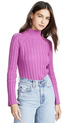 Bop Basics Wide Rib Turtleneck Sweater Fuschia