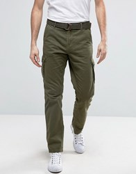 Solid Cargo Trousers With Belt Khaki Green