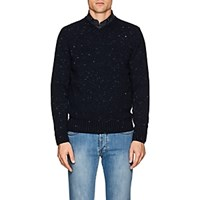 Inis Meain Donegal Effect Wool Cashmere Sweater Navy