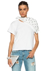 Mm6 Maison Margiela Bandana Draped Shoulder Cotton Tee In White Floral