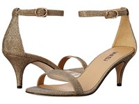 Vaneli Lassie Platino Ket Fabric Gold Buckle High Heels Beige