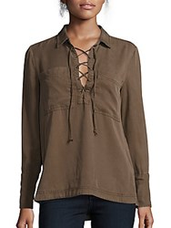 Saks Fifth Avenue Red Collared Lace Up Front Top Brown