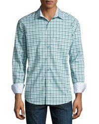 Robert Graham Centerfold Plaid Woven Shirt Teal