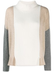 Max And Moi Colour Block Knit Sweater White