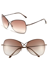 Tom Ford 63Mm Oversized Sunglasses Shiny Brown Brown Gradient
